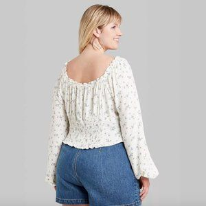 Wild Fable NWT Shirt Blouse ~ Sz 4X ~ Ivory Floral